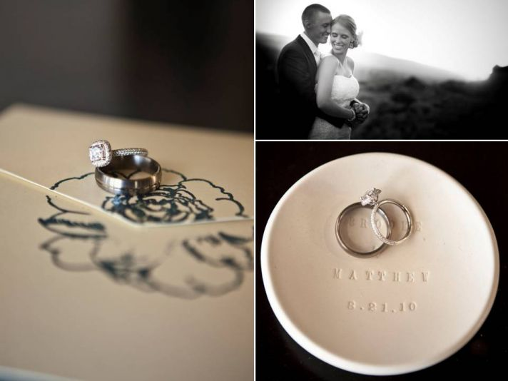 Artistic engagement ring and wedding bands photographs