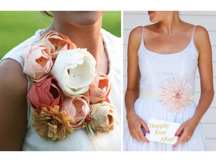 Eco-chic wedding flowers- handmade linen blooms