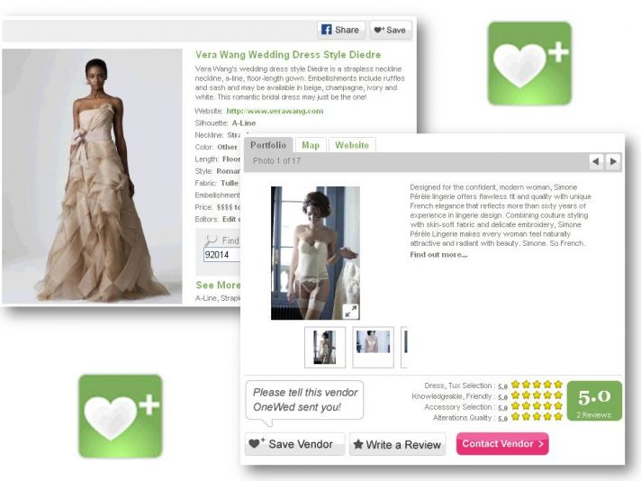 Save your favorite wedding dresses, wedding vendors, and more with OneWed's Stuff I Love