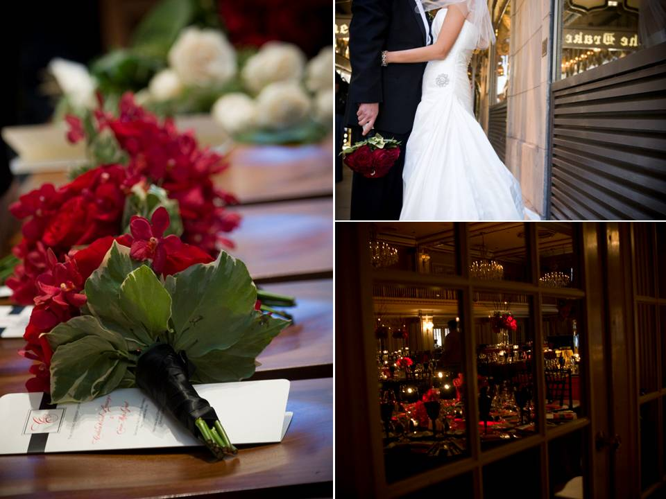 Romantic crimson red ivory and black wedding color palette