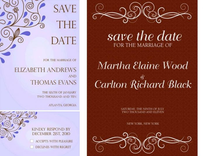 Lovely paperless wedding invitations in blue, chocolate brown, and cocoa