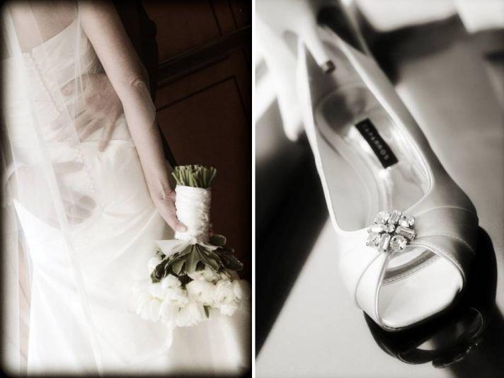 Bride wears La Sposa wedding dress, holds all white bridal bouquet