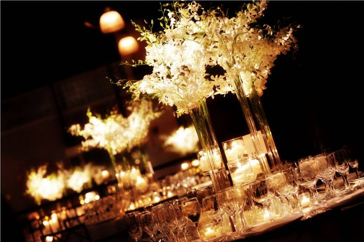 Modern affair and candle light wedding decorations