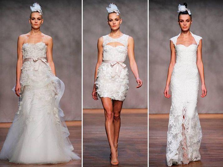 Romantic 2011 Monique Lhuillier lace and tulle wedding dresses