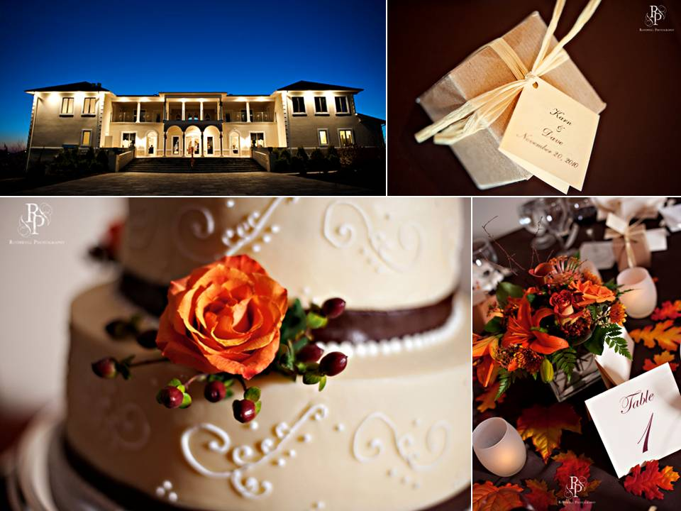 Romantic enchanted wedding reception venue and classic fall wedding cake