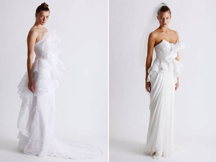 White wedding dresses from Marchesa's Spring 2011 line, featuring on-trend peplum details