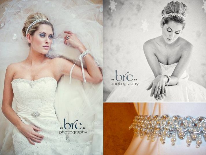 Beautiful crystal-embellished bridal headband or belt