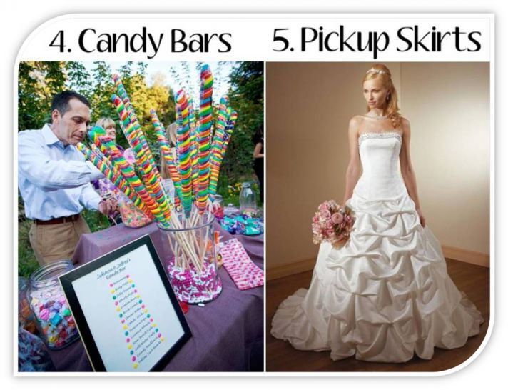 Candy bars and wedding dresses with pickup skirts- out for 2011 weddings