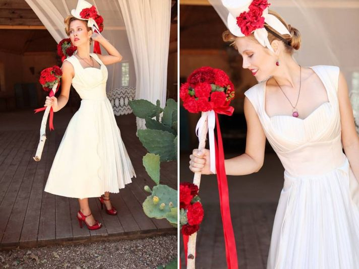 Tea-length Duchess satin wedding dress with pleating details
