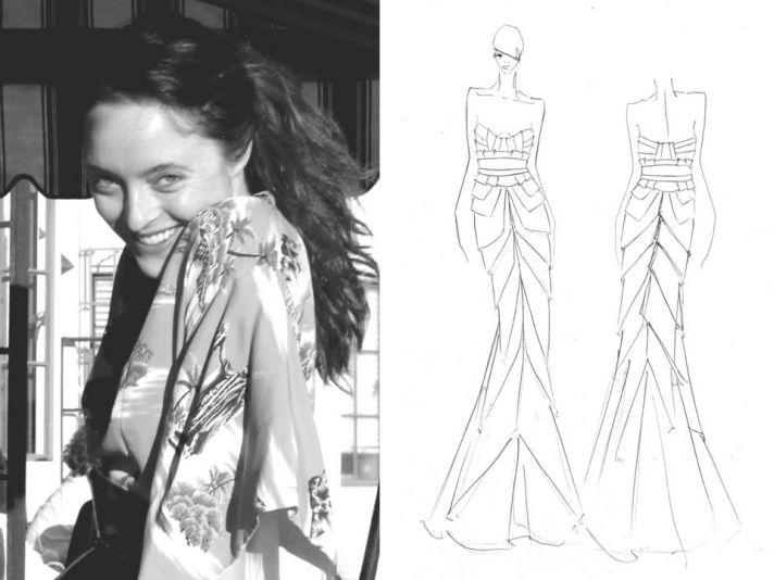 Alice Temperley of Temperley London, and one of her bridal sketches