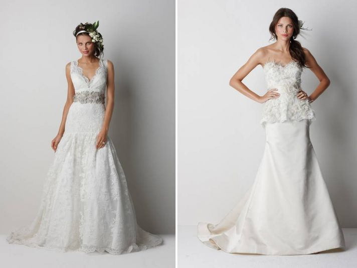 V-neck lace drop-waist 2011 wedding dress with sparkling bridal belt