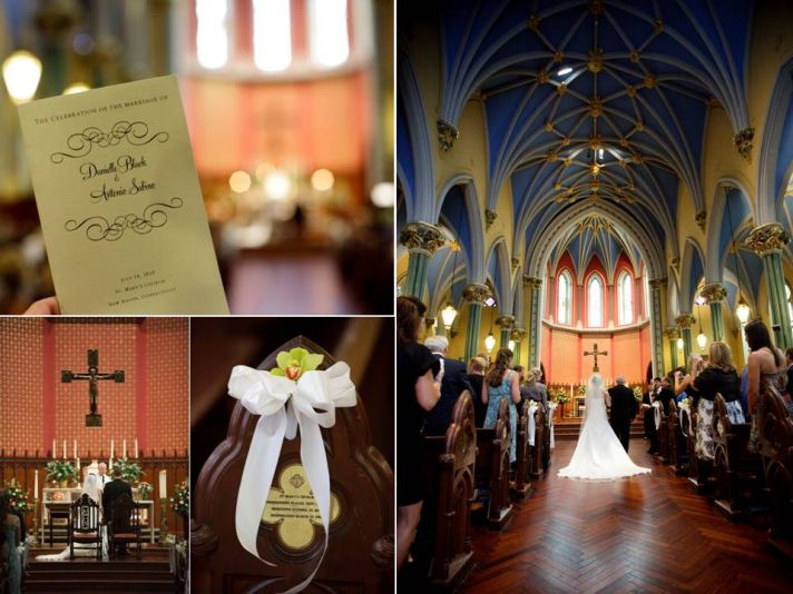 Traditional Catholic church with high vaulted ceilings for CT wedding