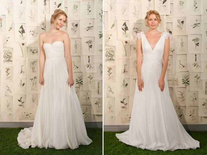 Simple and classic white a-line 2011 wedding dresses