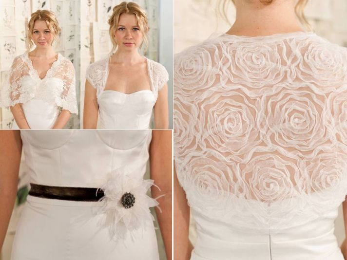 Feminine sheer white rosette-embellished bolero; white and black bridal belt