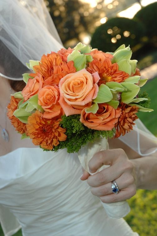 Orange and green Spring/Summer bridal bouquet