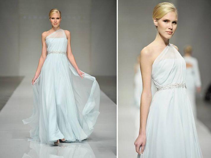 Ice blue one shoulder Romona Keveza wedding dress with jeweled bridal belt