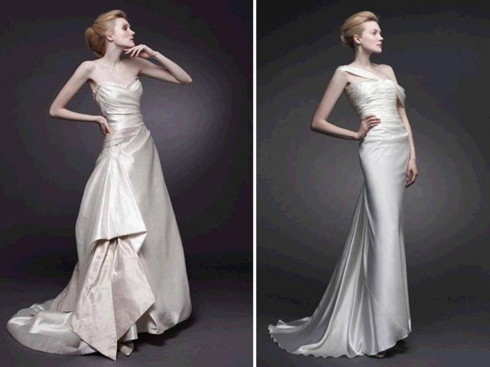 Slinky silk ivory wedding dresses by Peter Langner