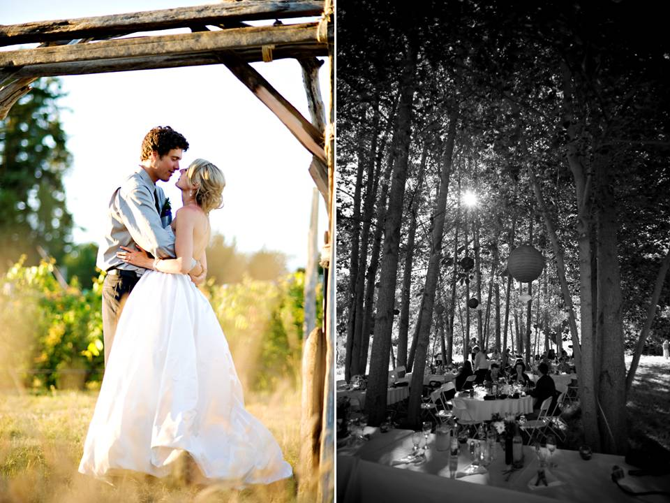 Bride and groom kiss under wood wedding arch casual wedding reception under