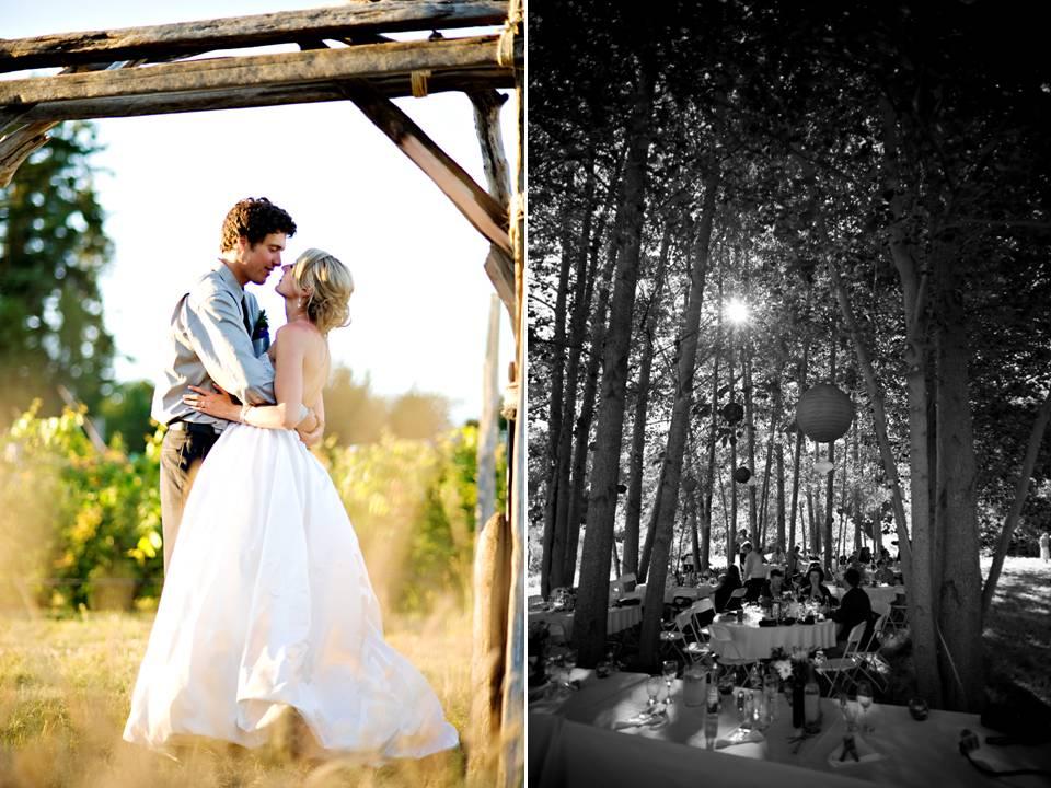 Bride and groom kiss under wood wedding arch casual wedding reception under