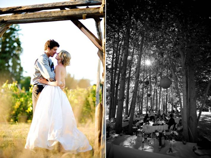 Bride and groom kiss under wood wedding arch, casual wedding reception under the stars