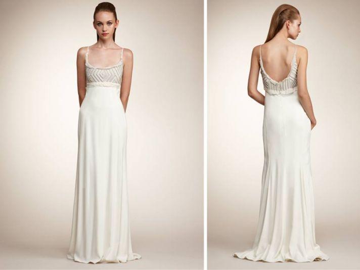 Sheath style Angel Sanchez wedding dress with open scoop back