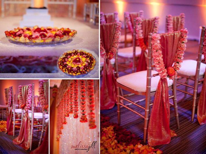 Vibrant red/orange wedding ceremony room with luxe decor