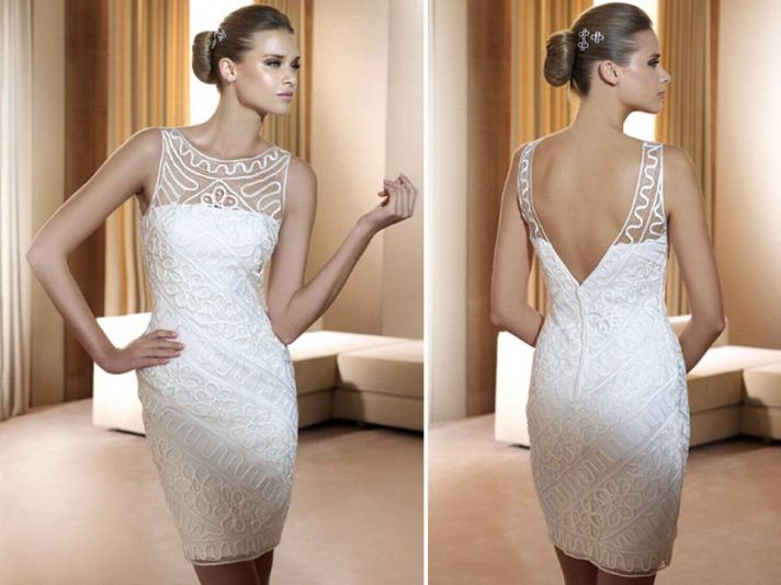 White wedding reception dress with illusion fabric for bateau neck and open v back