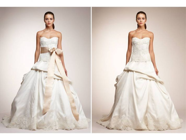Ivory strapless ballgown wedding dress with pink sash and lace applique