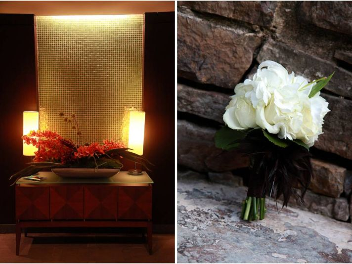 Romantic candlelit wedding reception venue; classic ivory bridal bouquet
