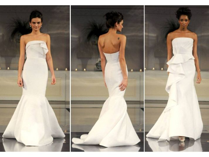 Strapless white mermaid Angel Sanchez wedding dress with ruffle detail