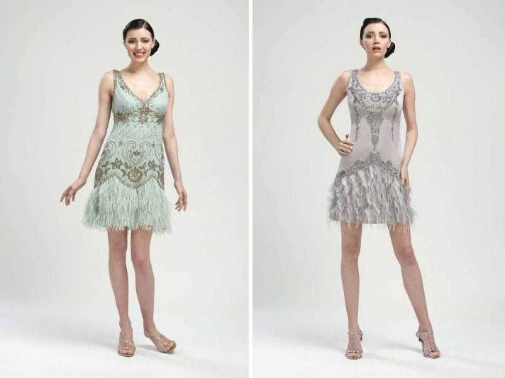 1920's inspired bridesmaids dresses in pale blue and slate grey by sue wong