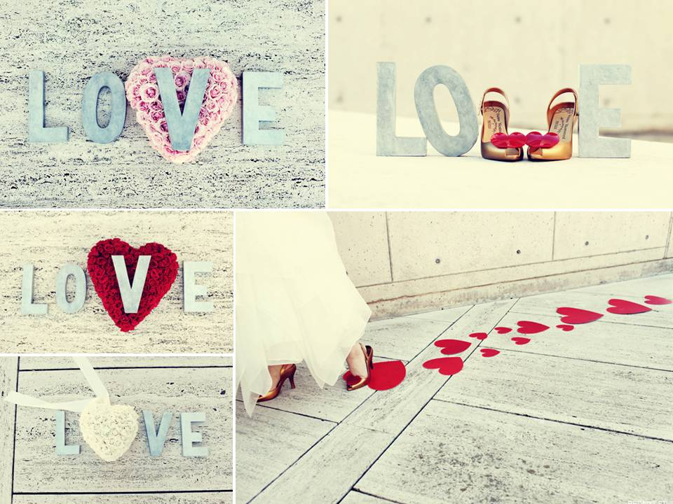Romantic red ice blue and ivory Valentine 39s Day wedding photos