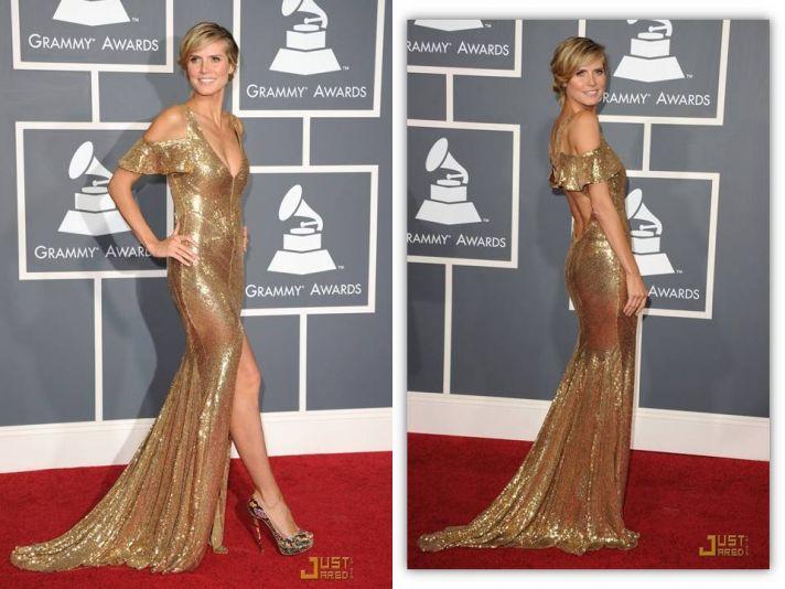 Heidi Klum wears all-gold mermaid gown to 2011 Grammy's