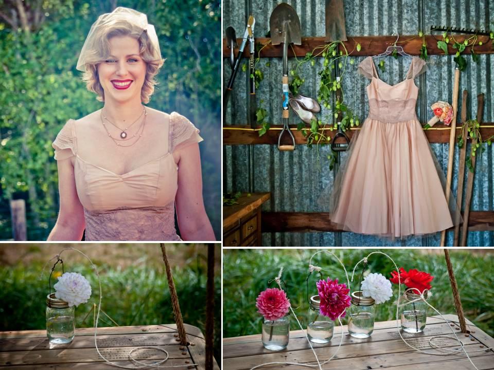 Vintageinspired tealength wedding dress colorful Gerbera daisies