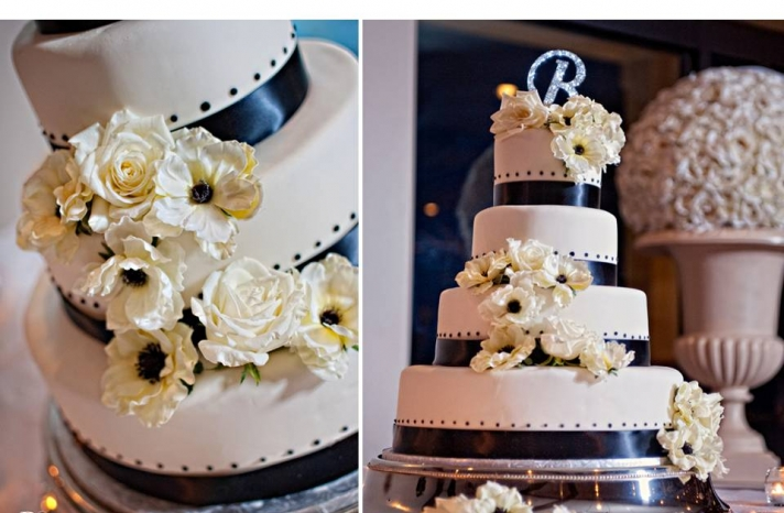 traditional-ohio-wedding-ivory-wedding-cake-black-ribbon-details-monogram-cake-topper
