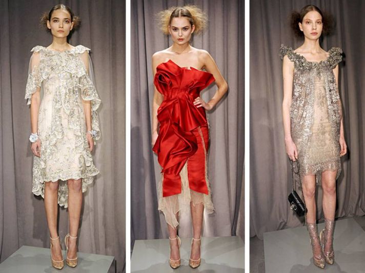Fall 2011 Marchesa cocktail frocks with metallic beading and texture