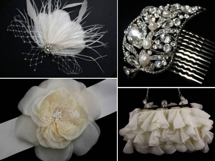 Romantic feather fascinator and bridal sash