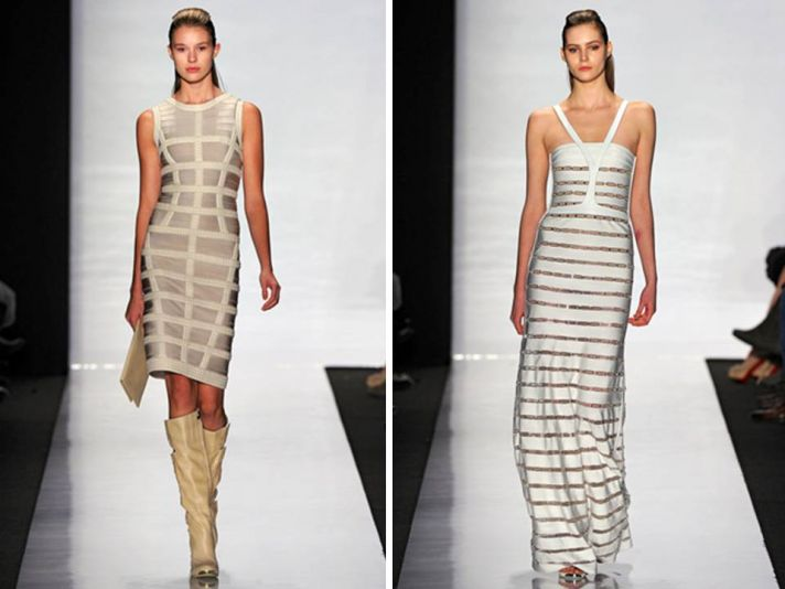White, ivory and metallic Herve Leger Fall 2011 bandage dresses