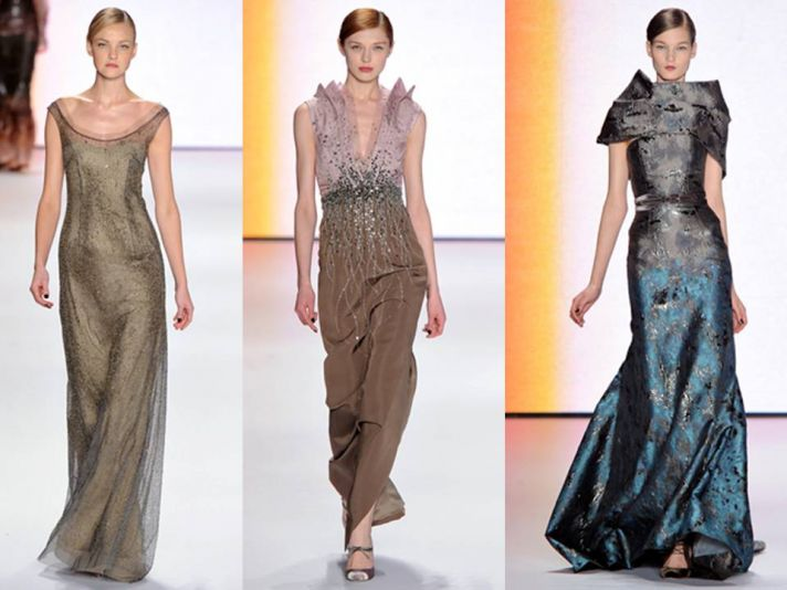 Scoop neck metallic gown, v-neck sparkly stunner, and regal high-neck Carolina Herrera gown