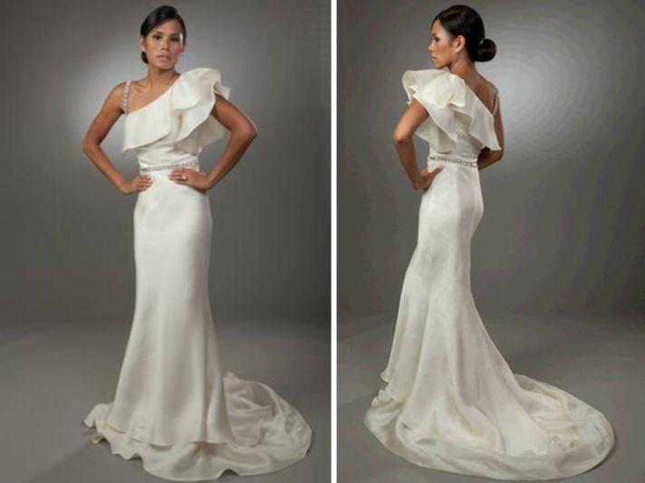 Sleek one-shoulder ivory wedding dress with ruffle detail