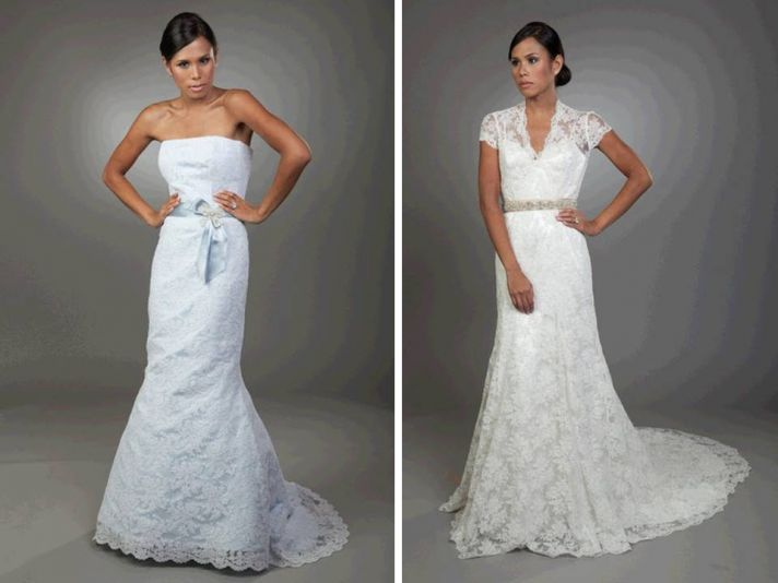 Light blue lace mermaid wedding dress and white lace v-neck bridal gown
