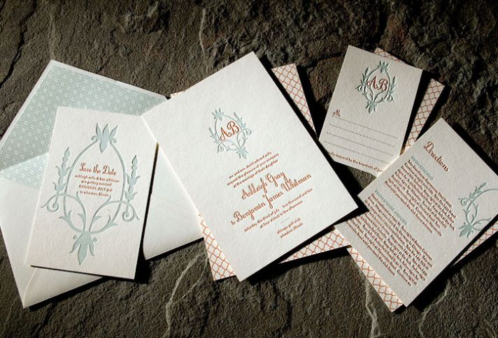 Contemporary ivory, red, blue sustainable letterpress wedding invites