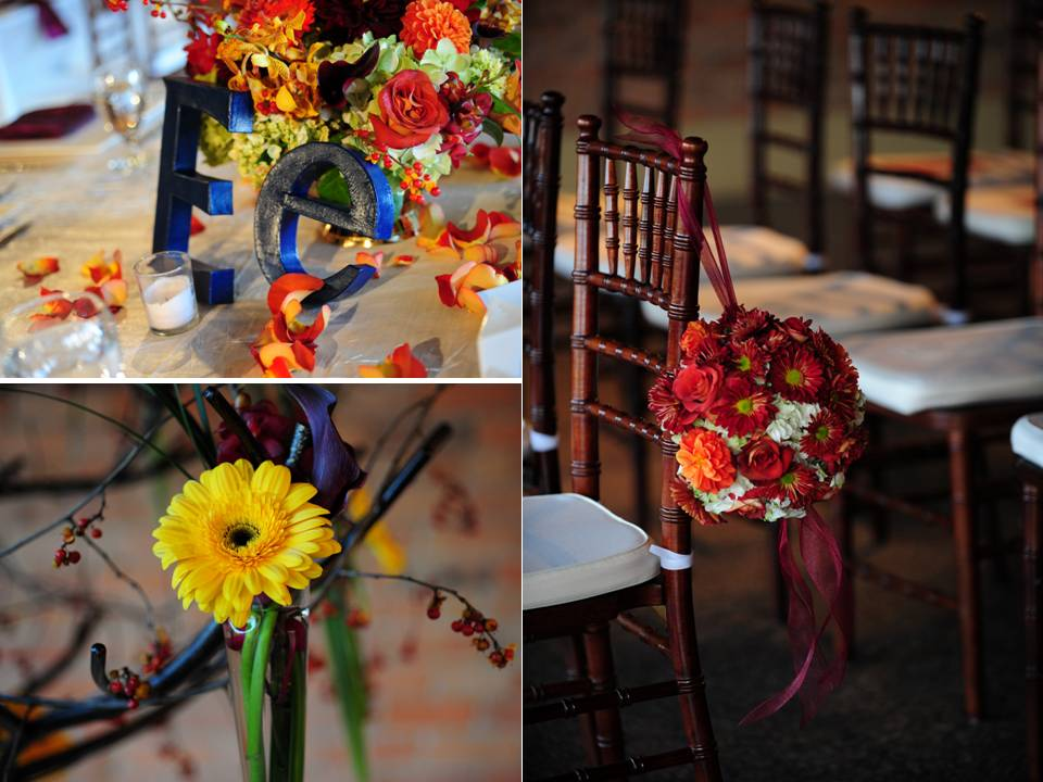 Colorful fall wedding flowers