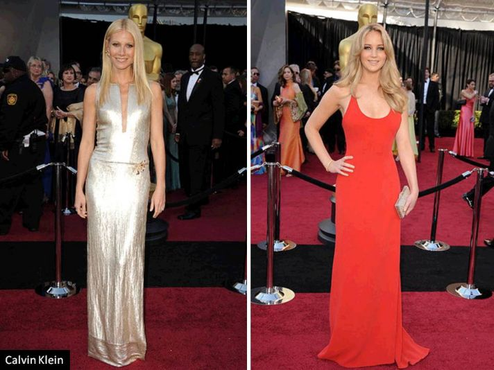 Gwyneth Paltrow in silver Calvin Klein gown on 2011 Oscars red carpet