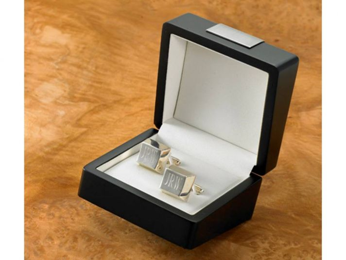 Classic sterling silver monogram cufflinks, perfect gift for the groom