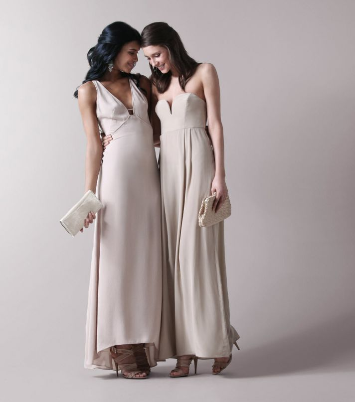 Chic empire designer bridesmaids dresses in rich beige hue