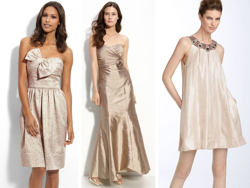 Mix and match bridesmaids 39 dresses from Nordstrom in champagne blush taupe