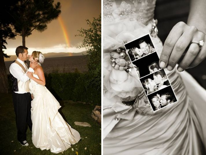 Bride and groom kiss outside under a gorgeous rainbow in Lake Tahoe