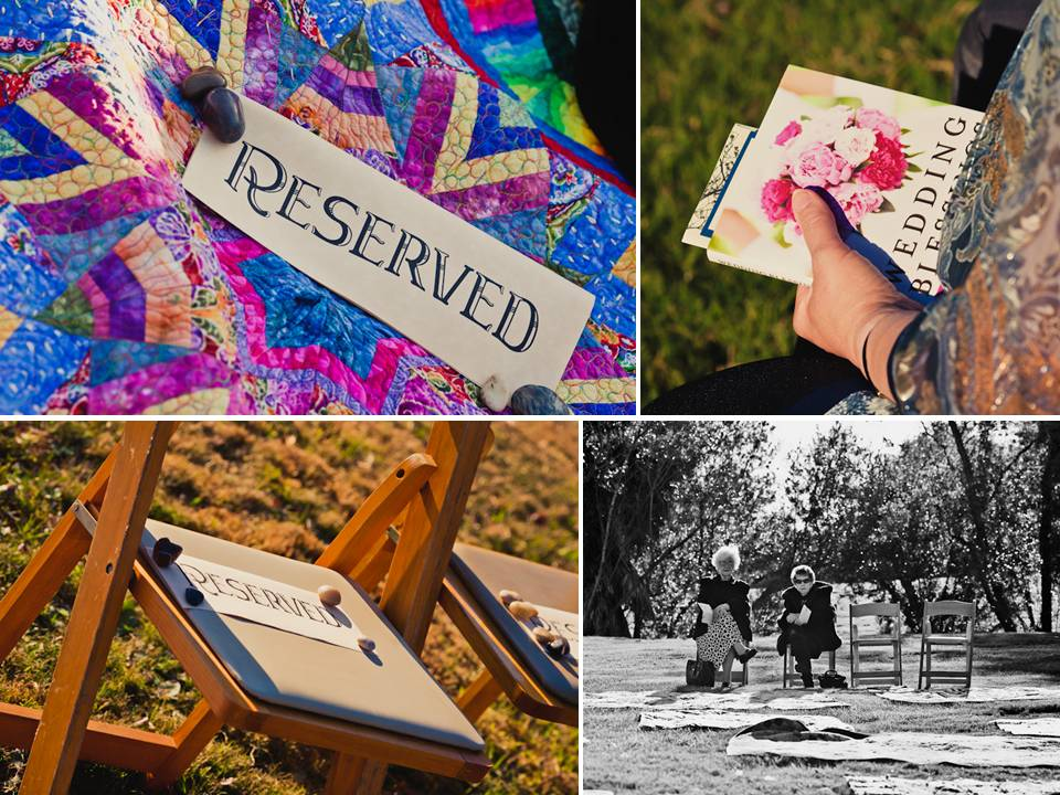 Public park serves as wedding venue reserved blankets for wedding guests