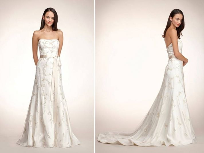 Romantic a-line strapless ivory wedding dress by Rivini